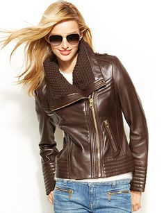 MICHAEL MICHAEL KORS Knit-Trim Leather Jacket