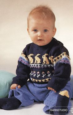 Ravelry: b2-15 Jumper with rabbit, trousers and socks pattern by DROPS design