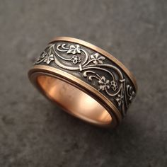 art deco ivy ring in sterling and 14k rose gold | by downtothewiredesigns