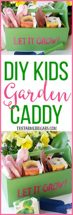 """Your kids will really """"dig"""" this DIY Kids Gardening Caddy. It's perfect for carrying their gardening tools. It makes a great gift idea."""