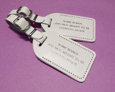 White Wedding Escort Favor Leather Luggage Tag **FREE SHIPPING** Bulk Orders