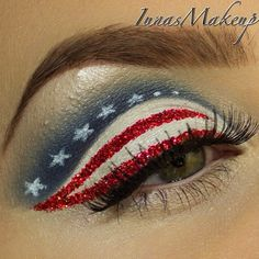 American Flag Eye Makeup Art