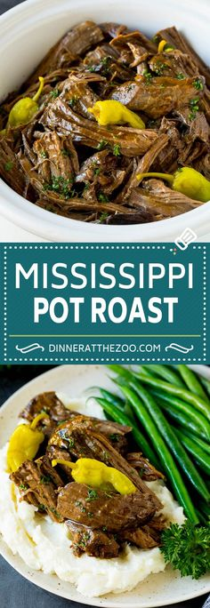 Mississippi Pot Roast - Dinner at the Zoo Cheap Clean Eating, Clean Eating Snacks, Slow Cooker Recipes, Crockpot Recipes, Ninja Recipes, Crockpot Dishes, Chili Recipes, Oven Pot Roast, Instant Pot