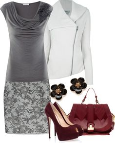 """""""Maroon and Gray"""" by laurynmarton ❤ liked on Polyvore"""