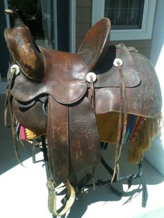 Tough love for the old Charles Shipley! Western Tack, Western Saddles, Horse Saddles, Horse Tack, Cowboy Gear, Cowgirl And Horse, Leather Holster, Saddle Leather, Wade Saddles