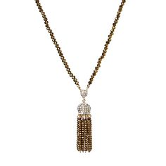 Gold-tone brass necklace with Austrian crystals and crystal beads.
