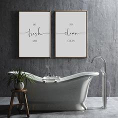 Bathroom Prints, Bathroom Wall Art, Bedroom Wall, Grey Bathroom Decor, Bathroom Quotes, White Bedroom, Bathroom Interior, Master Bathroom, Laundry Decor