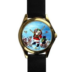 Popular Santa Claus with Lovely Animals Unisex -tone Round Leather Metal Watch * Discover this special product, click the image : Travel Gadgets Travel Gadgets, Travelling, Santa, Unisex, Popular, Watches, Metal, Leather, Outdoor