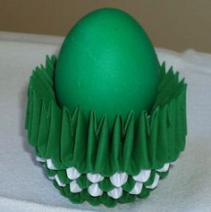 3D Origami Art - Green egg in green egg cup