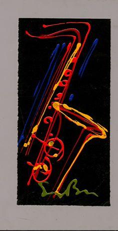Acrylic on Paper 30 - Simon Bull. Jazz Painting, Guitar Painting, Bull Images, Jazz Art, Music Illustration, Music Artwork, Music Images, Elements Of Art, Grafik Design