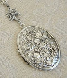 Silver Oval Locket Christmas Hanukkah Large by BackstreetCreations