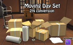 Moving Day Set by mustluvcatz converted to TS4! Edit May 12: I fixed the locked boxes and the handtruck FOR REAL this time. Sorry about any inconveniences! Please re-download! • handtruck in several...