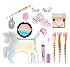 """Unicorn Makeup"" by kittykitty83 ❤ liked on Polyvore featuring beauty, WithChic, Unicorn Lashes, Stila, Medusa's Makeup and Estée Lauder"