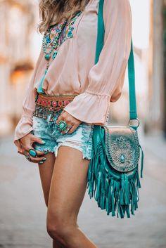 Beautiful fringe bag boho style
