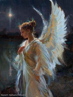 Daniel F. mermaids angels fairies fantasy art - Daniel F. Angels Among Us, Angels And Demons, Angel Artwork, Angel Paintings, I Believe In Angels, Ange Demon, Angel Pictures, Guardian Angels, Cherub