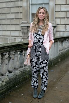 The 20 Best Street Style Looks from London Fashion Week, Fall 2014: Cara Mcleay (American Eagle jumpsuit, Prada bag, Zara jacket and boots)
