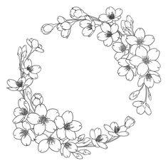 花 Floral Embroidery Patterns, Embroidery Art, Flower Patterns, Embroidery Stitches, Embroidery Designs, Art Floral, Floral Drawing, Wreath Drawing, Flower Sketches