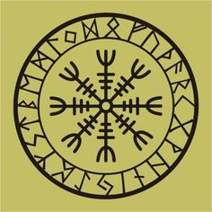 Viking protection runes helm of awe talisman black vinyl decal