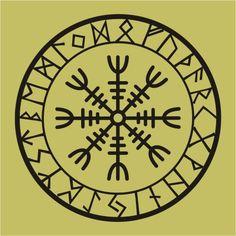 Viking protection runes helm of awe talisman black vinyl decal