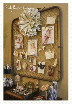 I have boards in my studio...but I need a statement like that gorgeous paper flower at the top... rustyroostervintage.blogspot.com Old Garden Gates, Old Gates, Junk Gypsies Decor, Trash To Treasure, Funky Junk, Bow, My New Room, Shabby Chic Furniture, Vintage Decor