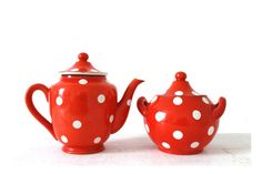 French Vintage Set of Red Polka Dots Coffee by MonsieurLouis