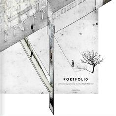 This is a cover of architectural portfolio.The layout uses the lines, spaces and facets to show different angles of an architectural design. the negative space is really good. white part space gives us a space of imagination. The black and white and gray color also form a simple visual effect.