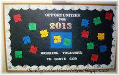 Church Bulletin Board for the New Year or anytime - Opportunities for service for everyone Christian Bulletin Boards, Winter Bulletin Boards, Church Bulletin Boards, Bullentin Boards, Sunday School Crafts, Preschool Crafts, Classroom Decor, Cardmaking, Craft Projects