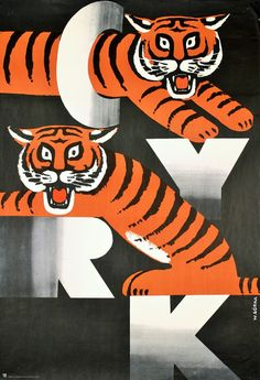 Original contemporary/vintage Polish posters - the antique & vintage art posters of tomorrow.the art investment for the future Circus Poster, Retro Poster, Circus Art, Poster S, Vintage Posters, Vintage Art, Tiger Design, Design Art, Graphic Design