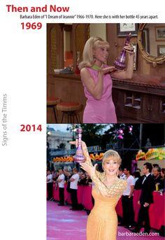 "Then and Now: Barbara Eden, ""I Dream of Jeannie"" #barbaraeden #idreamofjeannie #majornelson www.barbaraeden.com"