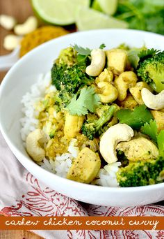 Cashew Chicken Coconut Curry is creamy and satisfying. Plus it'll be on the table in 20 minutes! | iowagirleats.com