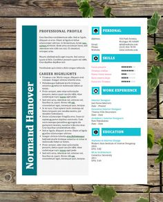 creative resume template instant download custom resume template