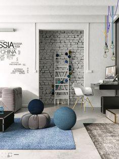 Bean Bag Chair, Brick, Sweet Home, Kids Rugs, House Design, Living Room, Inspiration, Furniture, Home Decor
