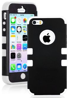 Amazon.com: myLife (TM) White and Black - Robot Series (Neo Hypergrip Flex Gel) 3 Piece Case for iPhone 5/5S (5G) 5th Generation iTouch Smar...