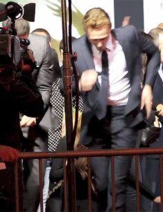Tom and Levi dancing GIF - EHEHEHEHHEHE!! Man, that cameraman is in the way, though. XD Thomas William Hiddleston, Tom Hiddleston Loki, Beau Gif, Avengers, Gifs, Bae, Zachary Levi, Marvel, British Men