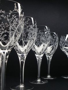 Four Wine Glasses . 'Branches & Leaves' Hand by daydreemdesigns, $109.00