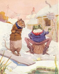 1939 Children's Print Frank Adams Frog Sitting On Basket Pipe In Hand Frozen…