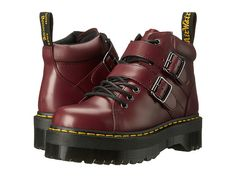 The Bryony Lace Buckle Boot from Dr. Martens® mixes contemporary style and subcultural undertones for a supremely modern look. Polished smooth leather upper is a twist on the classic Dr. Martens leather: durable, with a smooth & polished finish. Women's Lace Up Boots, Red Boots, Lace Up Shoes, Me Too Shoes, Dr. Martens, Dr Martens Boots, Chunky Boots, Chunky Heels, Slip Resistant Shoes