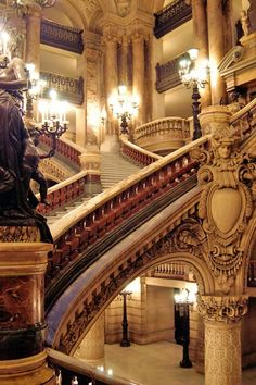 Staircase at the Opera Garnier in Paris. The Palais Garnier is a opera house, which was built from 1861 to 1875 for the Paris Opera. Stairway To Heaven, Grande Cage D'escalier, Beautiful Buildings, Beautiful Places, Beautiful Stairs, House Beautiful, Architecture Cool, Paris Opera House, Belle Villa
