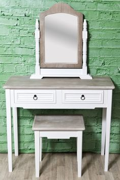 Simple Bedroom Dressing Table solid pine dressing table and mirror in autentico chalk paint