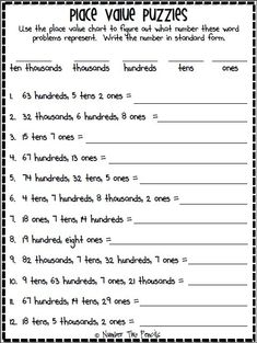 free resources is perfect for giving students additional practice transferring number from word form to standard form.This free resources is perfect for giving students additional practice transferring number from word form to standard form. Place Value Worksheets, Math Place Value, Place Values, Place Value Activities, 3rd Grade Math Worksheets, Preschool Worksheets, Math Activities, Fifth Grade Math, Fourth Grade