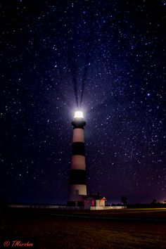 A night with the stars at Bodie Island Light in the Outer Banks (OBX) of North Carolina. Nags Head.
