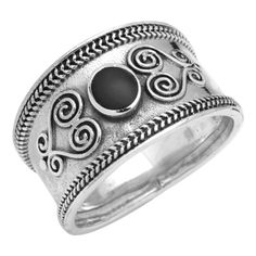 Filigree Swirl Bali Ring Round Simulated Stone 925 Sterling Silver Choose Color