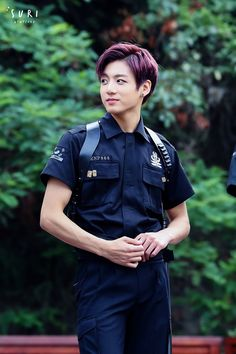 © suri | Do not edit. BTS JUNGKOOK Look at this son in police uniform #fineaf