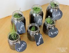 you could use free pasta jars. label are cool, reminiscence, sensory. Could ask a garden club to donate seeds or small plants Window-sill-herb-garden-11