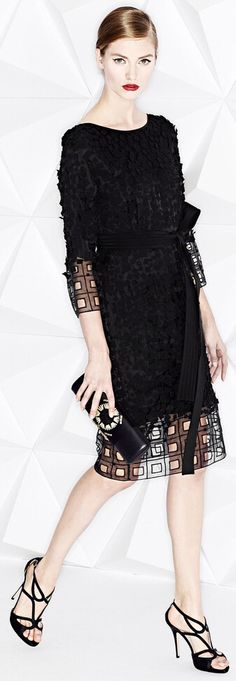 Chic little black dress with coutouts nd embroidery on organza. Escada Resort 2015
