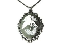 Dolphin Cameo Necklace 18 Antique Silver Toned by WillysJewels, $10.00