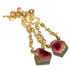 Watermelon Tourmaline Slice Earrings Gold Chandelier Earrings by FizzCandy