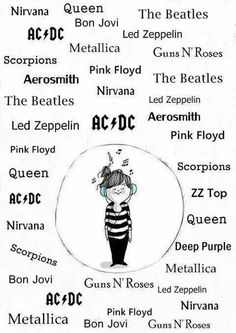 The Beatles Queen Led Zeppelin Aerosmith Pink Floyd AC/DC Metallica Nirvana Bon Jovi Guns N' Roses Scorpions ZZ Top