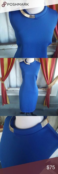 Calvin Klein cobalt blue midi dress This is a stunning sleeveless Calvin Klein cobalt blue mini dress with silver choker like detail. Brand new with tags size 12. this is a stunning sleeveless Kevin Klein cobalt blue many dress with the silver choker like detail. Spray new attack size 12. The stress is so slimming and so stunning you will love it the minute you put it on. Calvin Klein Dresses Midi
