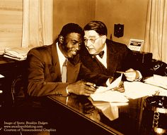 On this day in history, April 15, 1947: Jackie Robinson broke the color barrier in Major League Baseball. At the age of 28, Robinson was called up from the Brooklyn Dodgers farm team and became the first African American athlete to play in a major league baseball game. Pictured here: Branch Rickey and Jackie Robinson exchange thoughts on the prospects for the revolutionary 1947 season. Photo courtesy of Transcendental Graphics.
